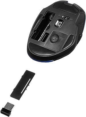 AmazonBasics Compact Ergonomic Wireless PC Mouse with Fast Scrolling - Blue