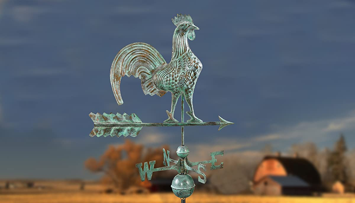 Good Directions Rooster Weathervane, Blue Verde Copper