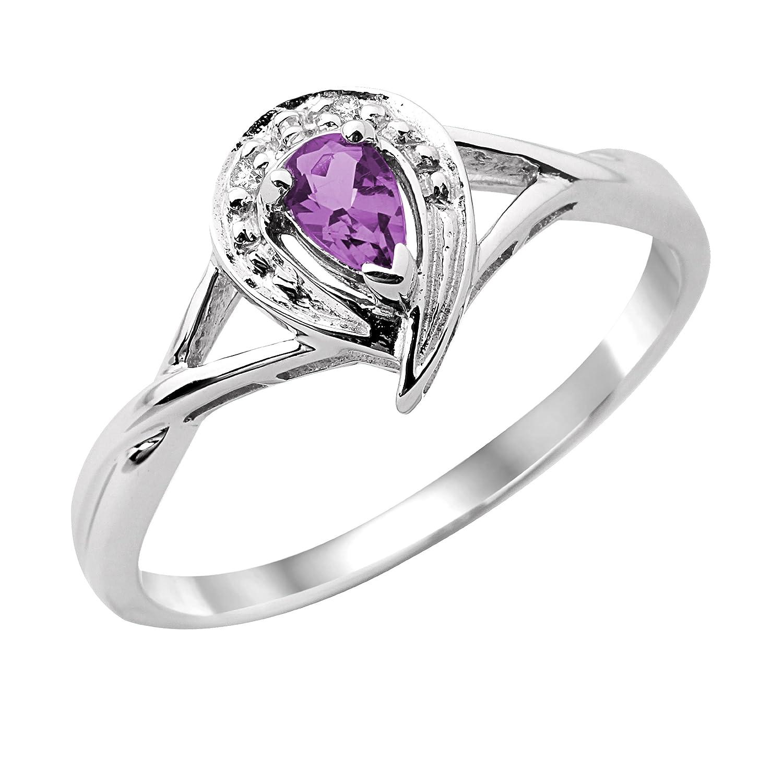 Miore Damen-Ring 375 Weißgold Amethyst und Brillanten MT003AR kaufen