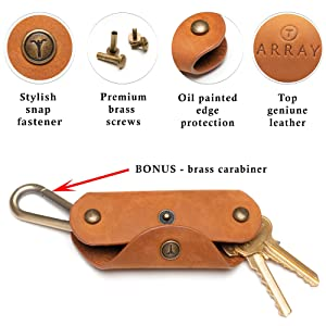 Leather Key Holder by ARRAY Design Key Organizer Keychain with Brass Carabiner for up to 10 Keys for men and women