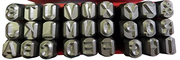 Wokesi 5/16(8mm) High Hardness Carbon Steel Uppercase Letters Alphabet Script Metal Hand Stamp Punches Kit for Mold Code Tag Jewel Making Die (8mm Letter) (Color: gray, Tamaño: 8mm Letter)