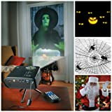 Virtual Holiday Animated Projector Kit For Window or Wall (w/12 Scenes for Halloween and Christmas) (Color: Black)