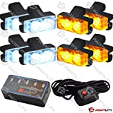 16 LED Emergency Warning Flash Strobe Lights Bar Tow Auto Car Truck Deck Grill (White/Amber) (Color: White/Amber)