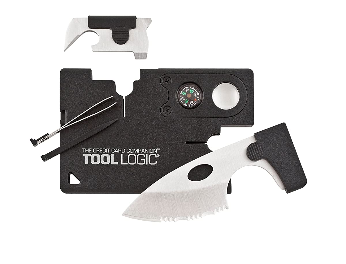 "SOG Credit Card Companion with Lens/Compass ToolLogic CC1SB - 9 Tools, Black, 2"" Blade"