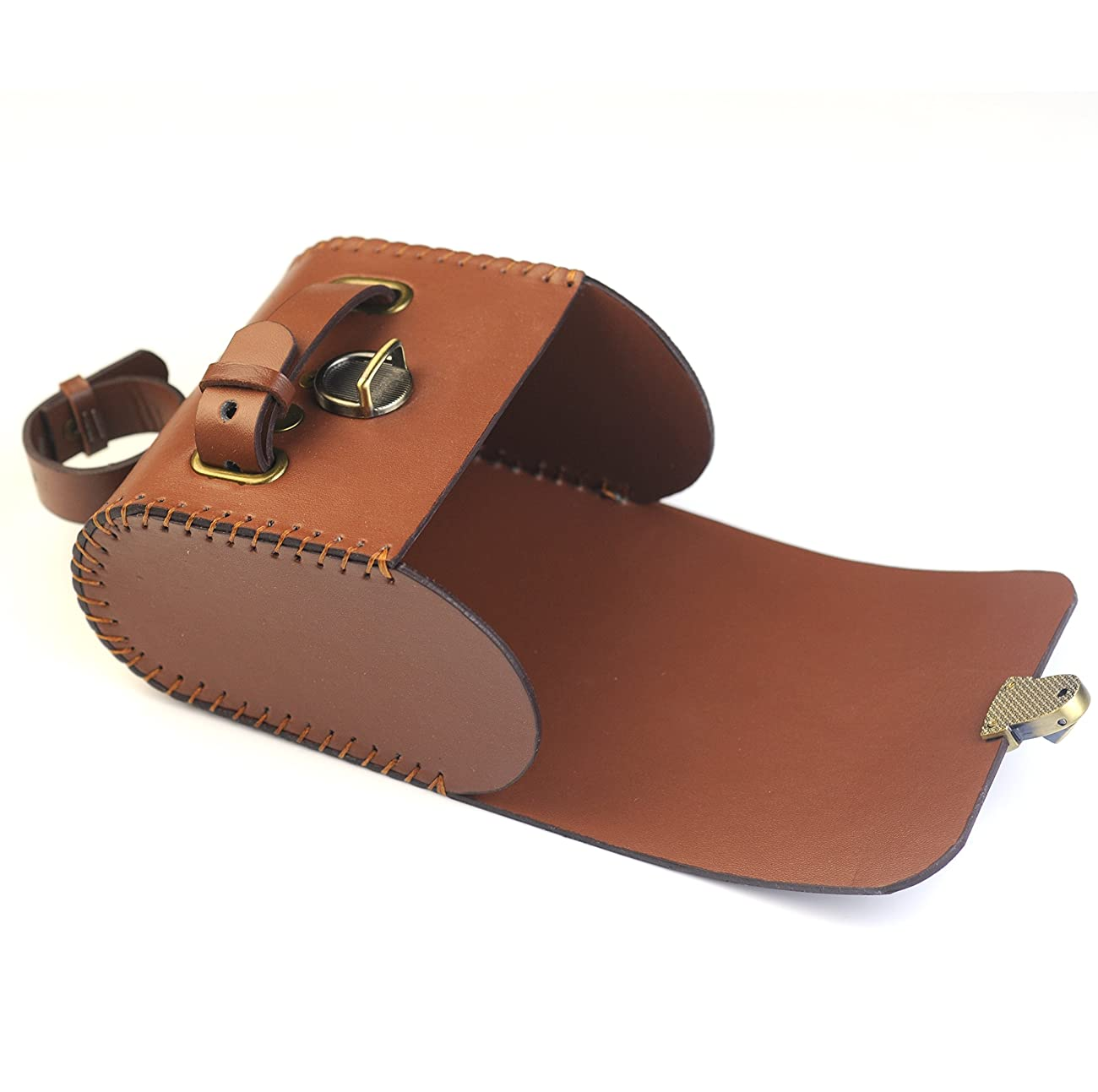 Mountain Bike Vintage Hardness PU Saddle Bag Brown 2