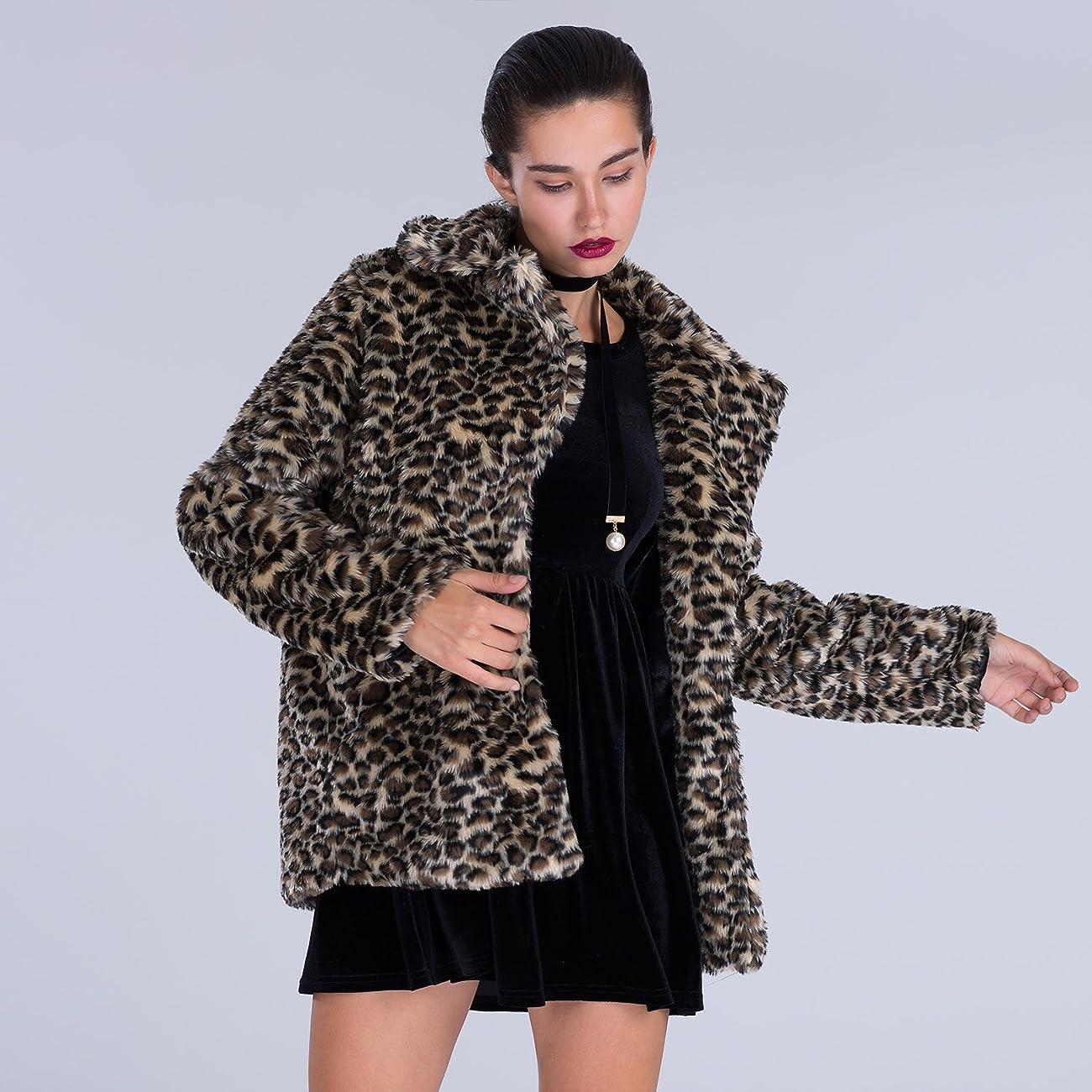 Choies Women Elegant Vintage Leopard Print Lapel Faux Fur Coat Fall Winter Outwear 1