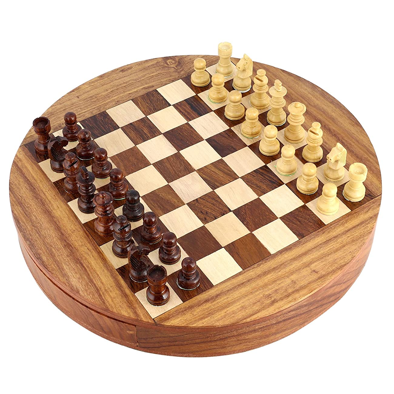Unique Compact Box Magnetic Round Wooden Chess Board And Pieces Set Gift For Kids Adults 7