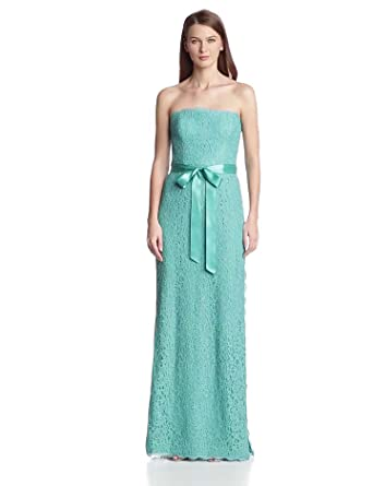 Adrianna Papell Women's Strapless Gown with Side Slit, Jade, 10