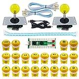 SJ@JX 2 Player LED Arcade Game DIY Kit Highlight LED Button Fighting Joystick Controller Zero delay USB Encoder Retropie PC MAME Mechanical Keyboard Switch Raspberry Pi LED Button (Color: yellow)