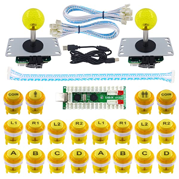 SJ@JX 2 Player LED Arcade Game DIY Kit Highlight LED Button Fighting Joystick Controller Zero delay USB Encoder Retropie PC MAME Mechanical Keyboard Switch Raspberry Pi LED Button (Color: yellow)