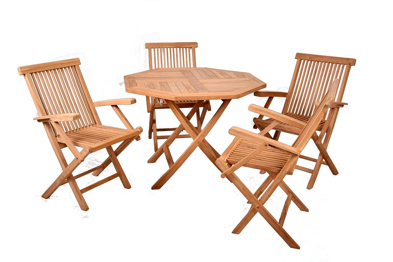 Divero Gartenmöbelset Sitzgruppe aus Teakholz Tisch Ø 100cm 5 tlg. mit Armlehnen bestellen