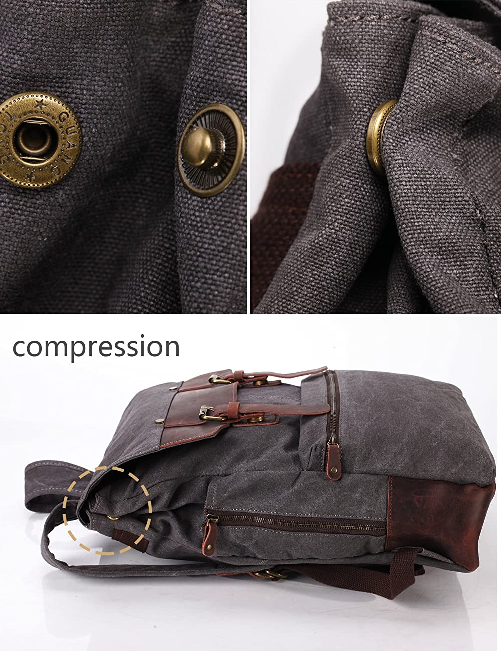 ZEKAR Vintage Waxed Canvas Leather Backpack, Multipurpose Daypacks 4