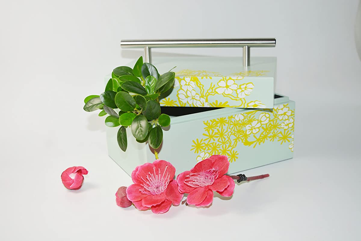 storage laquer box cheery bloom light green paint lift lid with stainless