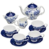 Grace Teaware Bone China 11-Piece Tea Set (Bali Blue) (Color: Bali Blue)