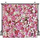 Dudaacvt 10x10ft Rose Floral Wall Wedding Photography Backdrop Vinyl Pink Flowers Wall Photo Backdrop Happy Birthday Backdrop Studio Prop D040 (Color: 1, Tamaño: 10x10ft)