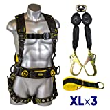 Guardian Fall Protection 21031 Cyclone Construction Harness + Twin Leg Web 6ft SRL with Steel Rebar Hook Ends + Web 3 ft Anchor Sling with 2 D-rings & 3