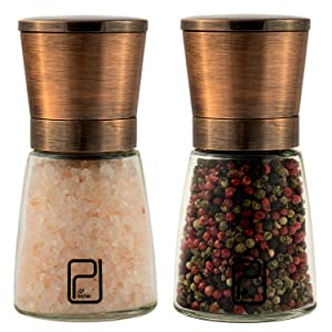 jcpkitchen salt and pepper grinder set - best classy copper stainless steel mill for home chef, handy magnetic lids, smooth ceramic spice grinders with easy adjustable coarseness, excellent shakers review