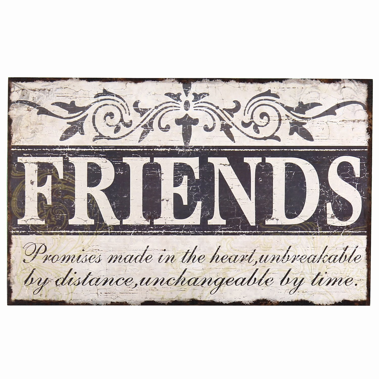 "Adeco Decorative Wood ""Friends"" Wall Hanging Sign Plaque, Off-White and Black – Best Friend Gifts"