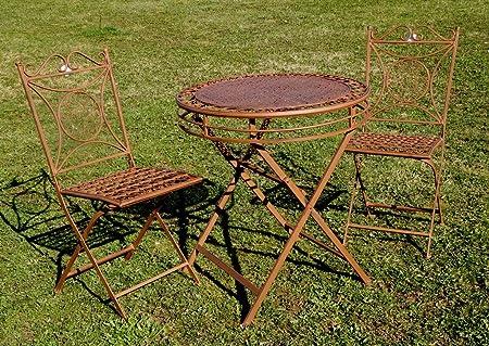 """Exklusive Sitzgruppe """"Yago"""", Gartentisch mit 2 Stuhlen, Gartengarnitur, sehr stabile Metallausfuhrung, klappbar"""