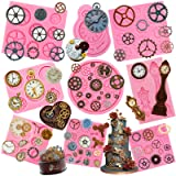 Funshowcase Steampunk Style Gear Cog, Watch Wheel and Clock Silicone Molds Set 9-Pack (Color: 9-pack ( 1176 1181 1182 1225 2241-2243 ))