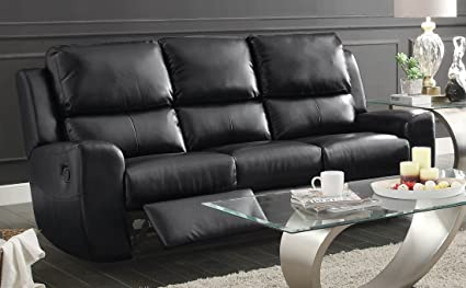 Homelegance Gannet Double Reclining Sofa in Black Leather