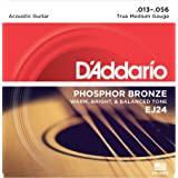 D'Addario EJ24 Phosphor Bronze Acoustic Guitar Strings, True Medium (1 Set) - Corrosion-Resistant Phosphor Bronze, Offers a Warm, Bright and Well-Balanced Acoustic Tone and Comfortable Playability (Color: True Medium | EJ24, Tamaño: 1-Pack)