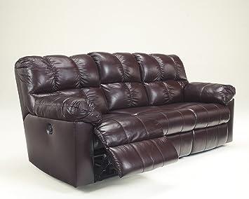 Kennard Contemporary Burgundy Finish Leather Match Upholstery Reclining Sofa