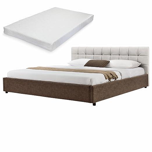 [My.Bed] Elegante cama tapizada acolchada + colchón de espuma fría - 140x200cm - imitación ante (cabecero: beige - Patas y parte lateral: marrón) - cama / cama de matrimonio / armazón de cama, incluye somier