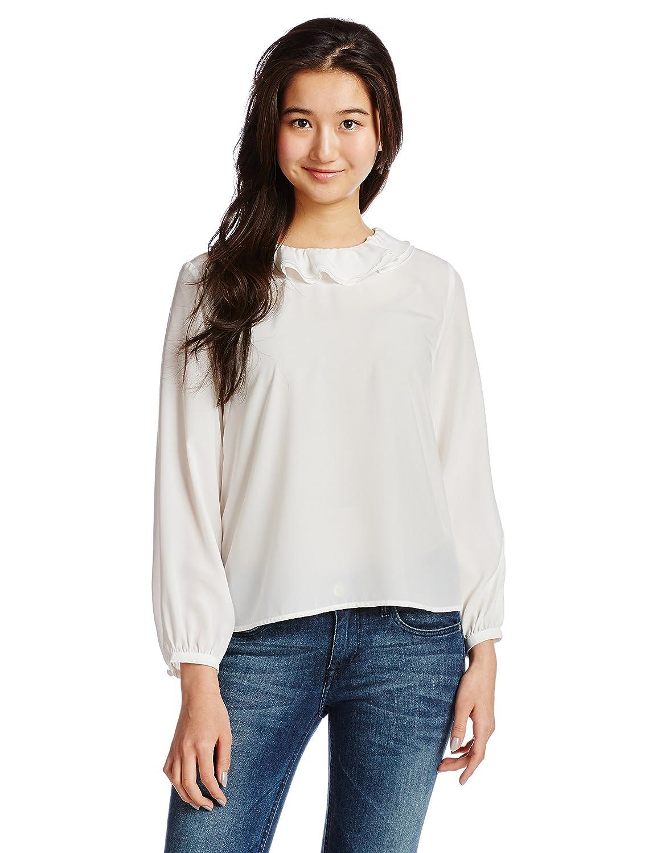 Amazon.co.jp: (レイビームス) Ray BEAMS / デシン フリルカラー ブラウス 63110141509 1 WHITE ONE SIZE: 服&ファッション小物