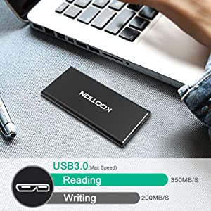 KOOTION 60GB Portable External SSD USB 3.0 High Speed Read & Write up to 400MB/s&300MB/s External Storage Ultra-Slim Solid State Drive for PC, Desktop, Laptop, MacBook (Color: (1) 60GB)