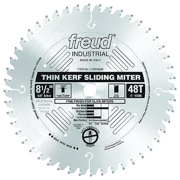 Freud 8-1/2x 48T Thin Kerf Sliding Compound Miter Saw Blade (LU91M008)