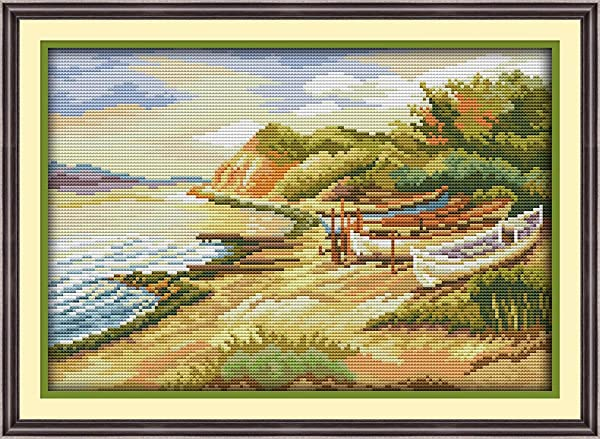 Full Range of Embroidery Starter Kits Stamped Cross Stitch Kits Beginners for DIY Embroidery (Multiple Pattern Designs)-Seaside (Color: Seaside)