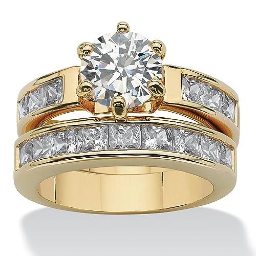 4-40-TCW-Round-Cubic-Zirconia-14k-Yellow-Gold-Plated-Bridal-Engagement-Ring-Wedding-Band-Set