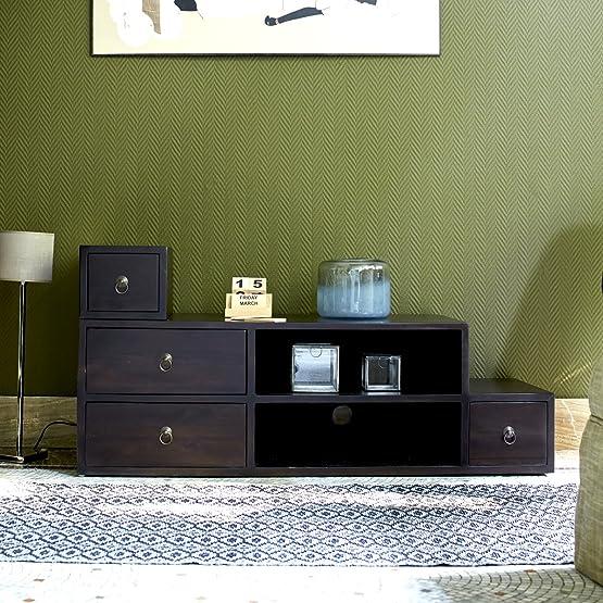 Legno Dekor mobile TV con 4cassetti e 2ripiano aperto, colore noce, 118x 40x 57cms