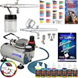Master Airbrush 2 Airbrush Professional Acrylic Paint Airbrushing System Kit with 6 U.S. Art Supply Primary Opaque Paint Colors Artist Set - Gravity Siphon Feed Airbrushes, Air Compressor, Guide Chart (Color: Assorted)