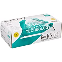 "Ansell Touch N Tuff 92-500 Nitrile Glove, Chemical Resistant, Powdered, Disposable, Rolled Beaded Cuff, 9.5"" Length, 5 mils Thick"