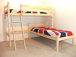 L SHAPED 3ft Childrens bunkbed   (both beds) includes TWO 20cm thick Luxury mattress       Customer review and more information