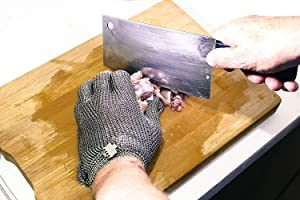Schwer Stainless Steel Metal Mesh Chainmail Cut Resistant Glove for Food Handling, Meat Cutting Butchers Slicing Chopping Restaurant Work Safety(S) (Tamaño: S)