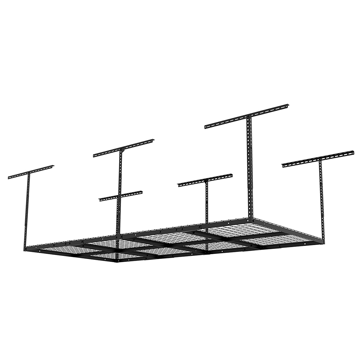 "FLEXIMOUNTS 4x8 Overhead Garage Storage Rack Adjustable Ceiling Garage Rack Heavy Duty, 96"" Length x 48"" Width x (22-40"" Ceiling Dropdown), Black (Two-Color Options)"