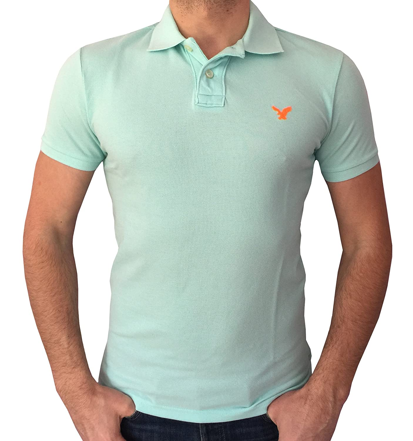 все цены на American Eagle Outfitters Mens Classic Fit Mesh Solid Polo T-shirt онлайн