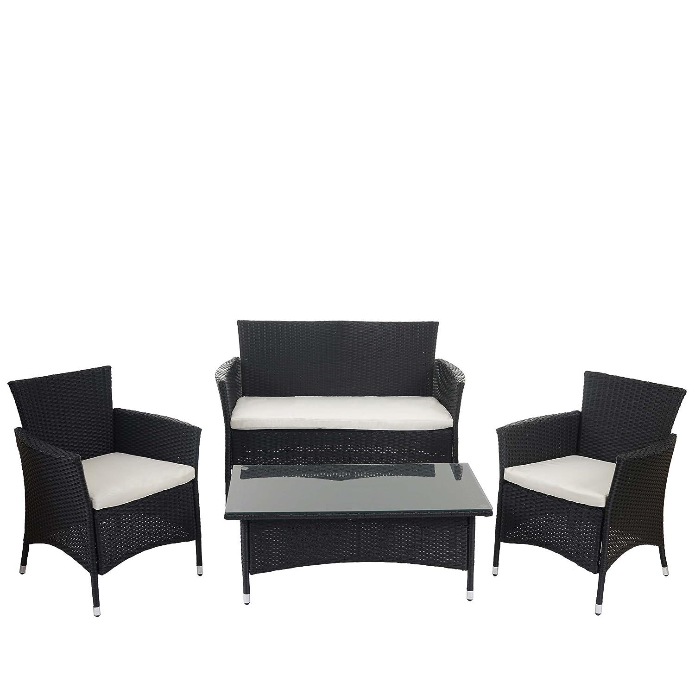 2-1-1 Poly-Rattan Garten-Garnitur ROM Basic, Sitzgruppe Lounge-Set ~ anthrazit, Kissen creme