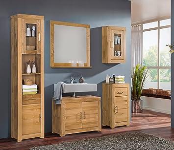 sam badm bel ancona bad set in wildeiche massiv ge lt 5 teilig bestehend aus 1 x hochschrank. Black Bedroom Furniture Sets. Home Design Ideas