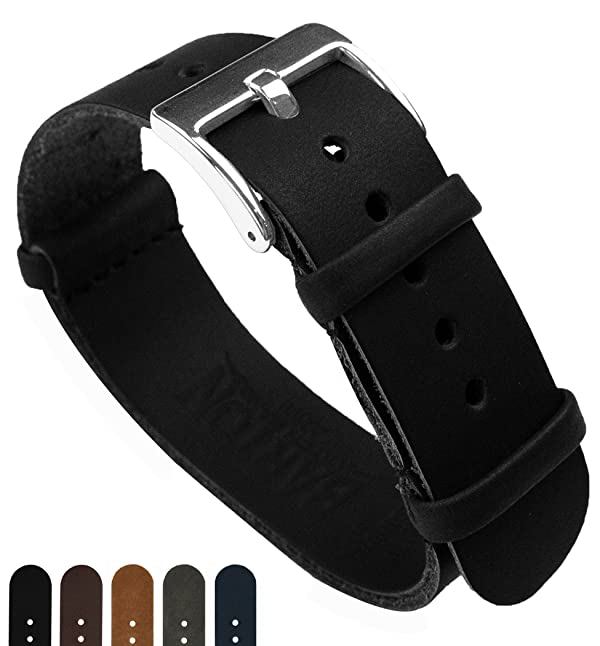 BARTON Leather NATO Style Watch Straps - Choose Color, Length & Width - Black 20mm 'Long' Band (Color: Black, Tamaño: 20mm - Long (11))