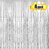 NIUBER Foil Curtains Backdrop - 4 Pack Photo Booth Backdrop for Wedding Birthday Party Stage Decor Tinsel Photo Booth Backdrop Metallic Curtains Party Supplies for Props(Silver) (Color: Silver)