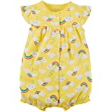 Carter's Baby Girls' Ground Rainbow Snap up Cotton Romper 6 Months (Color: Yellow, Tamaño: 6 Months)
