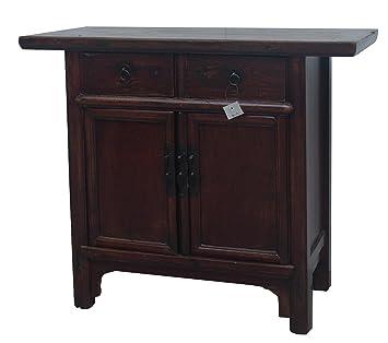 Mesilla de noche chino muebles pequeña mesita de noche con cajones marrón oscuro Oriental Asia muebles salón o dormitorio decoración interior armarios nightstands