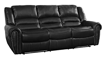 Homelegance 9668BLK-3PW Power Reclining Black Bonded Leather Traditional Sofa with Accentuated Nail Headed Arm Rest