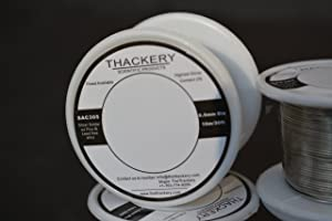 Thackery Silver Flux Core Solder Wire - SAC305 - available in 1mm and .8mm thickness - sold by the foot/meter (10m/30ft x .5mm Thickness) (Tamaño: 10m/30ft x .5mm Thickness)