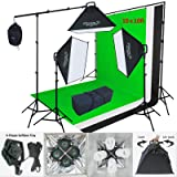 Linco Lincostore 2400 Watt Flora X Photo Studio Lighting 10x10 Feet 3 Backdrops Photography Background Stand Light Kit AM143 (Color: Black)