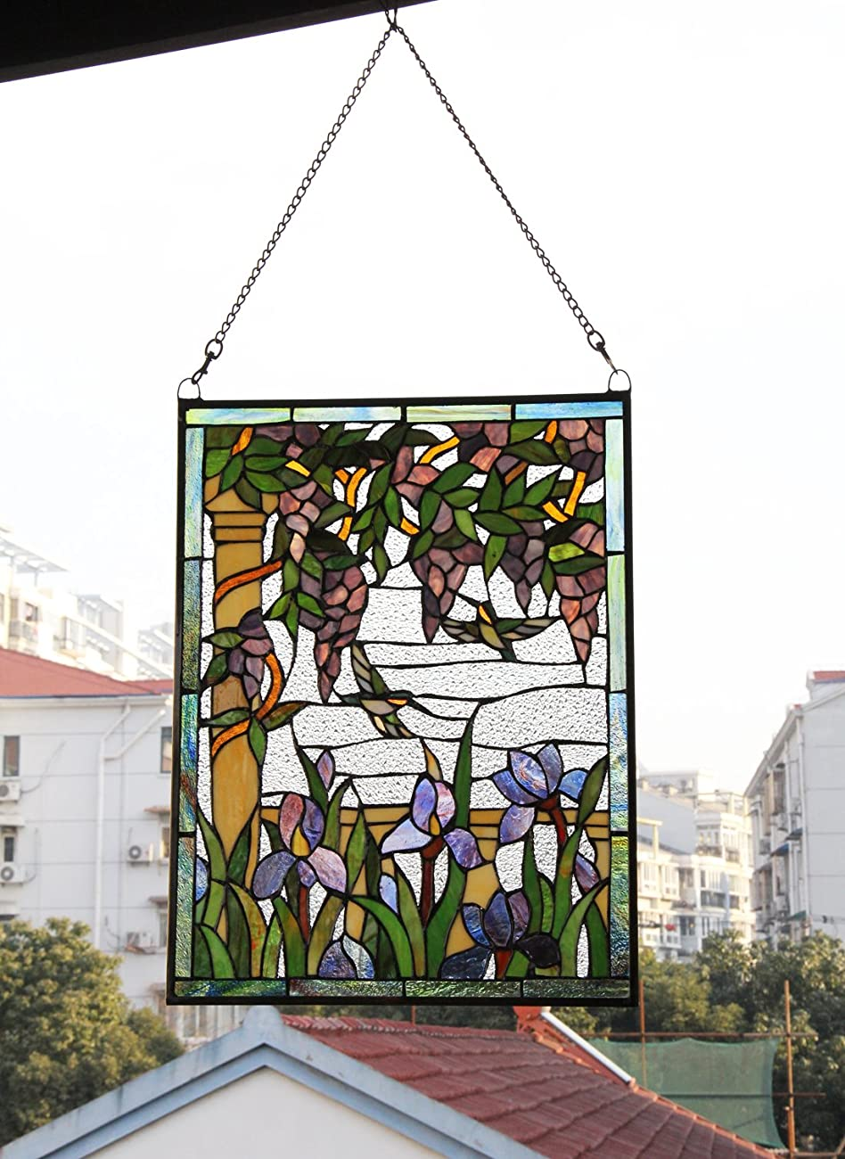 Makenier Vintage Tiffany Style Stained Art Glass Wisteria and Hummingbirds Window Panel Wall Hanging 4